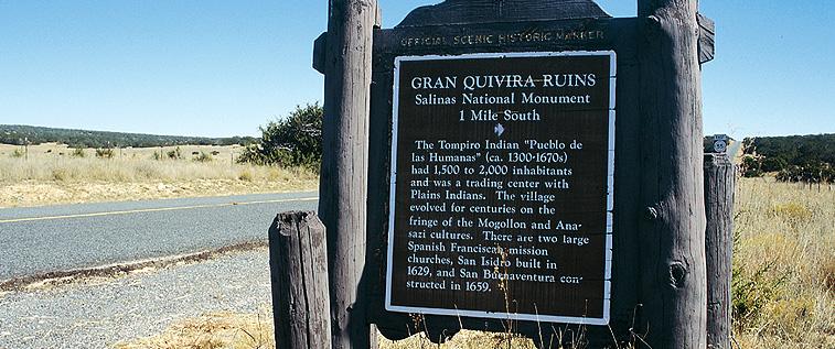 Cartel indicativo de La Gran Quivira