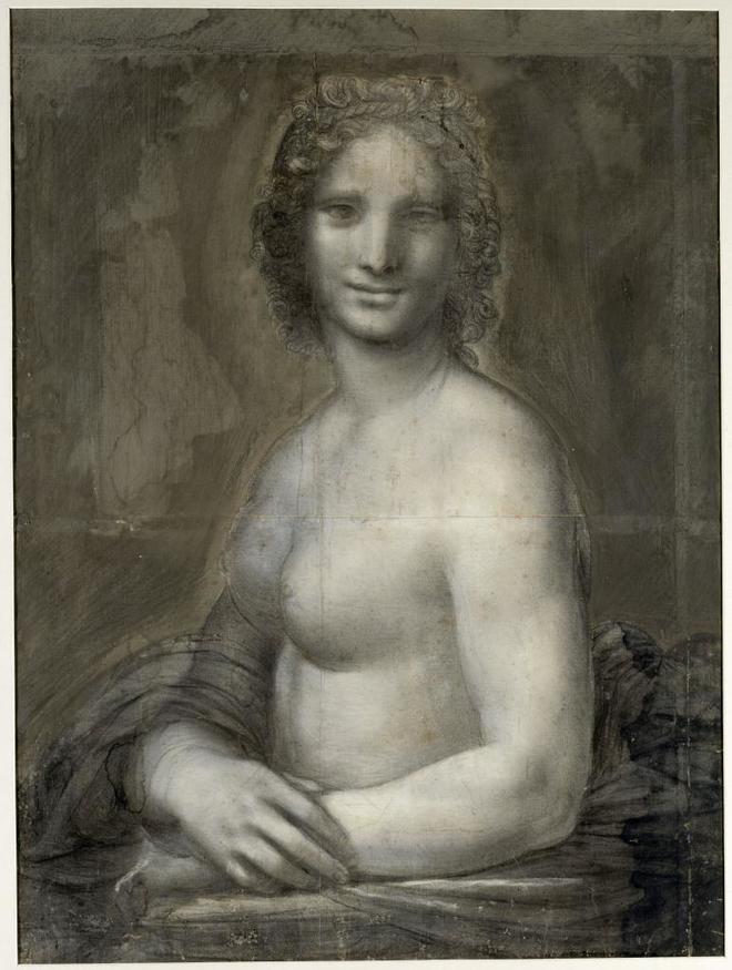 Carboncillo sobre papel que representa a una Gioconda desnuda