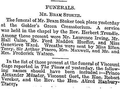 Obituario Bram Stoker