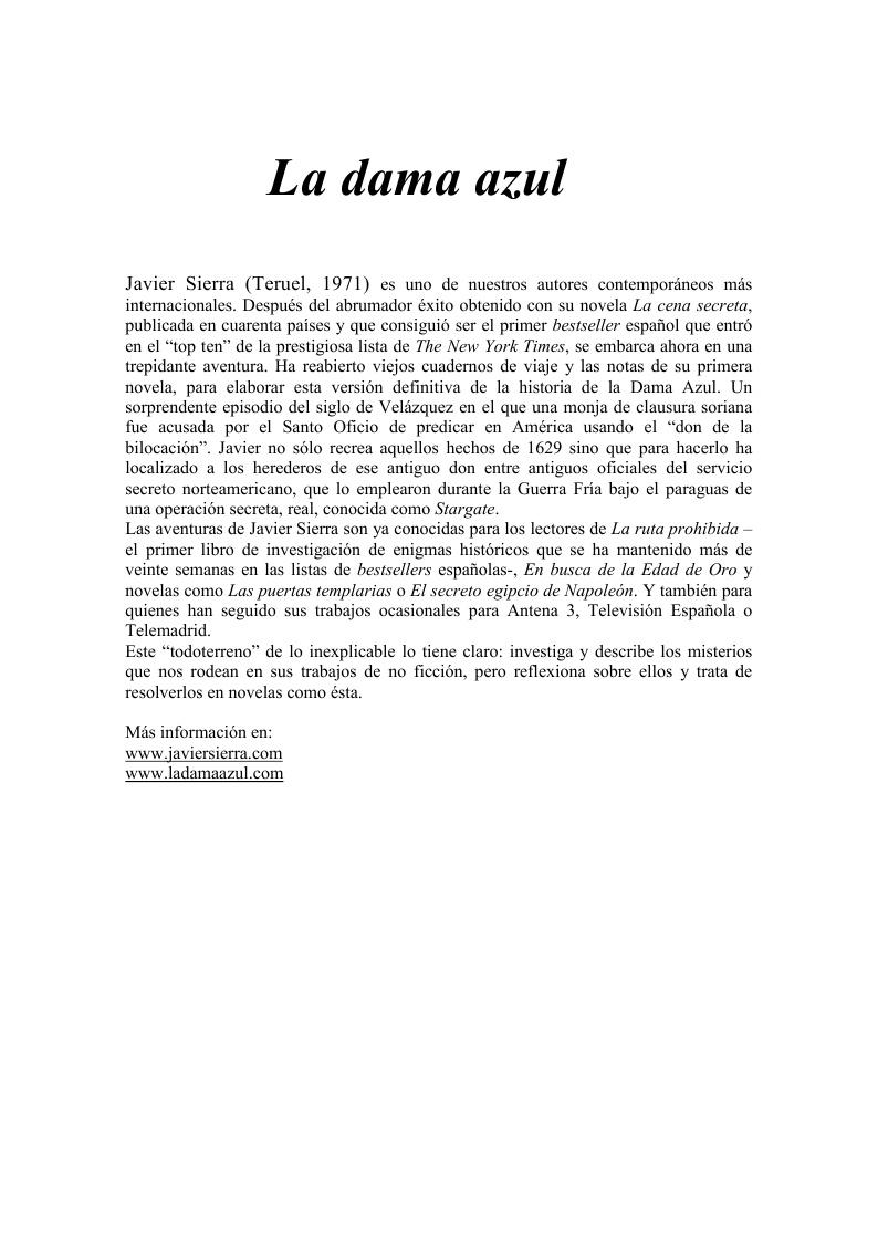 20020204 DOSSIER DE PRENSA La Dama Azul