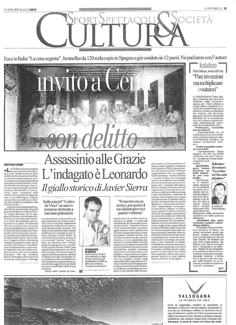 20050617 LA REPUBBLICA Invito a Cena con delitto [Italia]