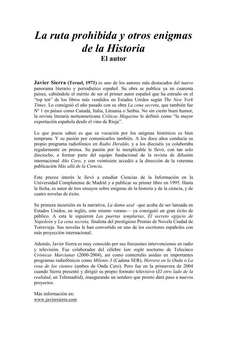20070705 DOSSIER DE PRENSA La Ruta Prohibida