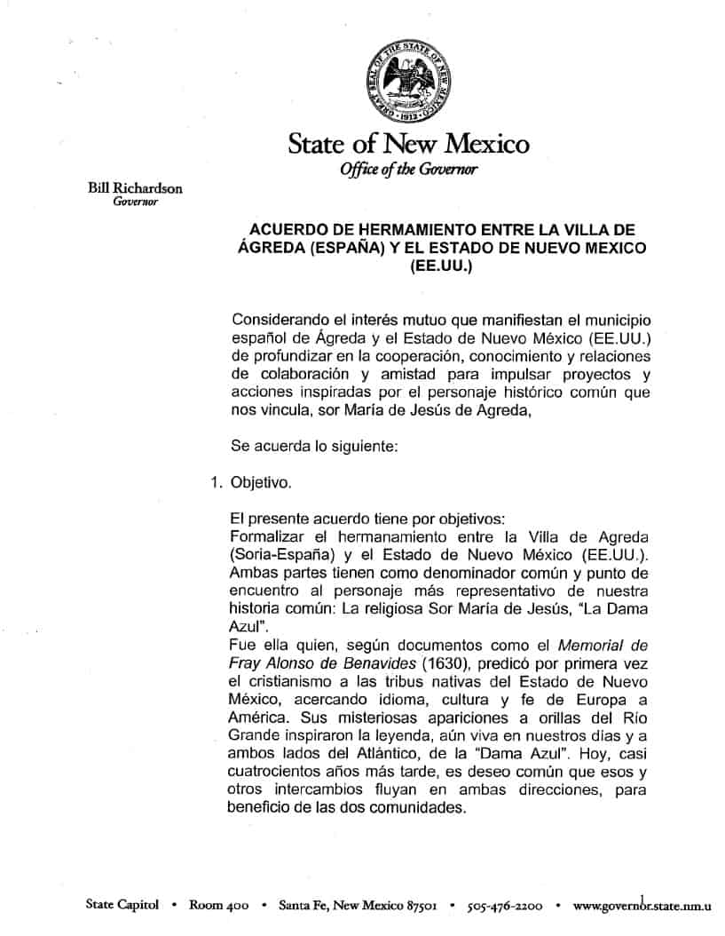 20081202 STATE OF NEW MEXICO Acuerdo de hermanam