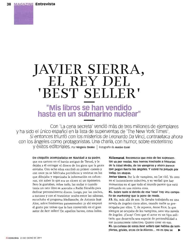 20110123 XL SEMANAL Javier Sirera el Rey del Best Seller