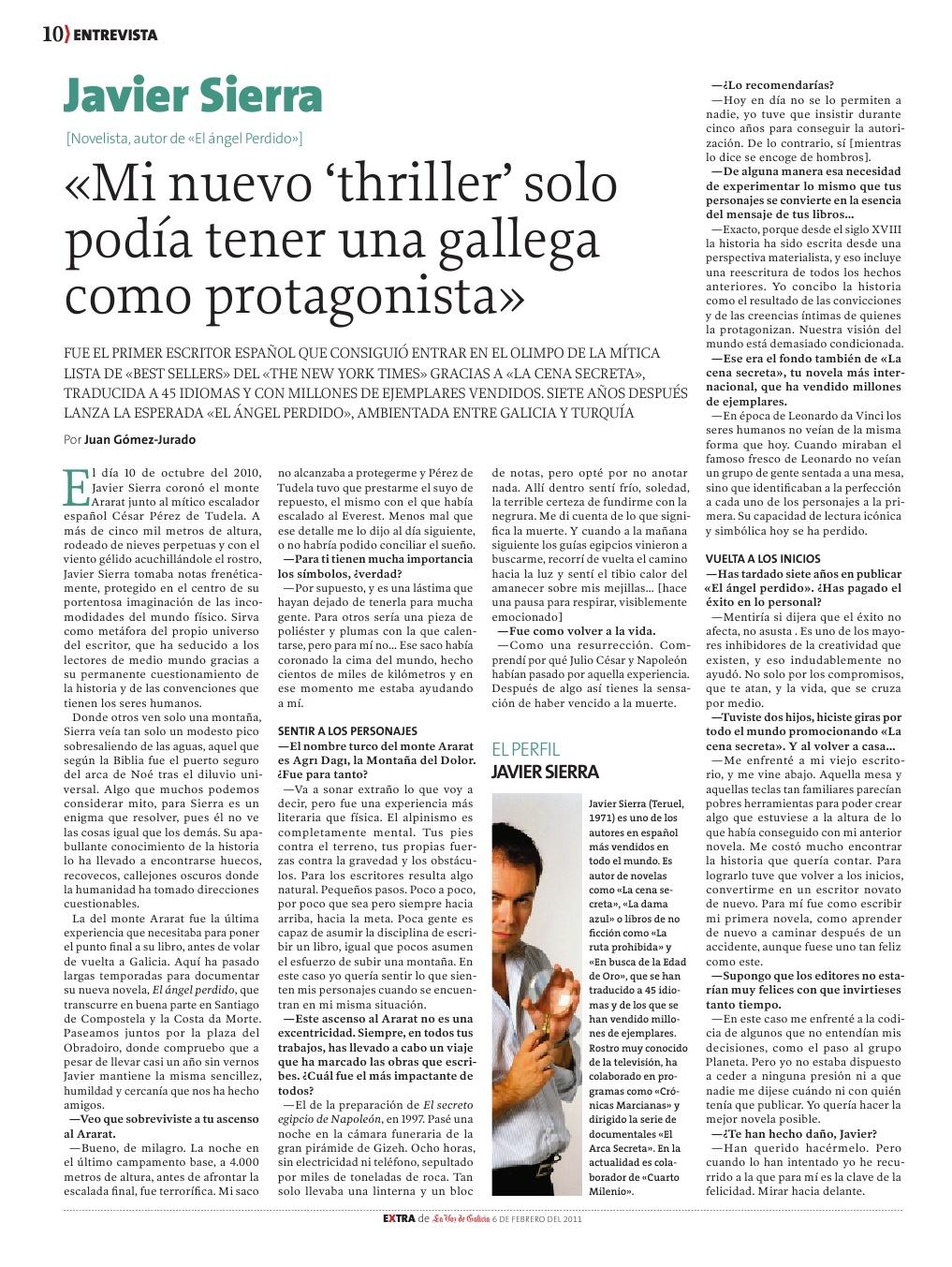 20110206 LA VOZ DE GALICIA Mi nuevo thriller solo podía tener una gallega como protagonista