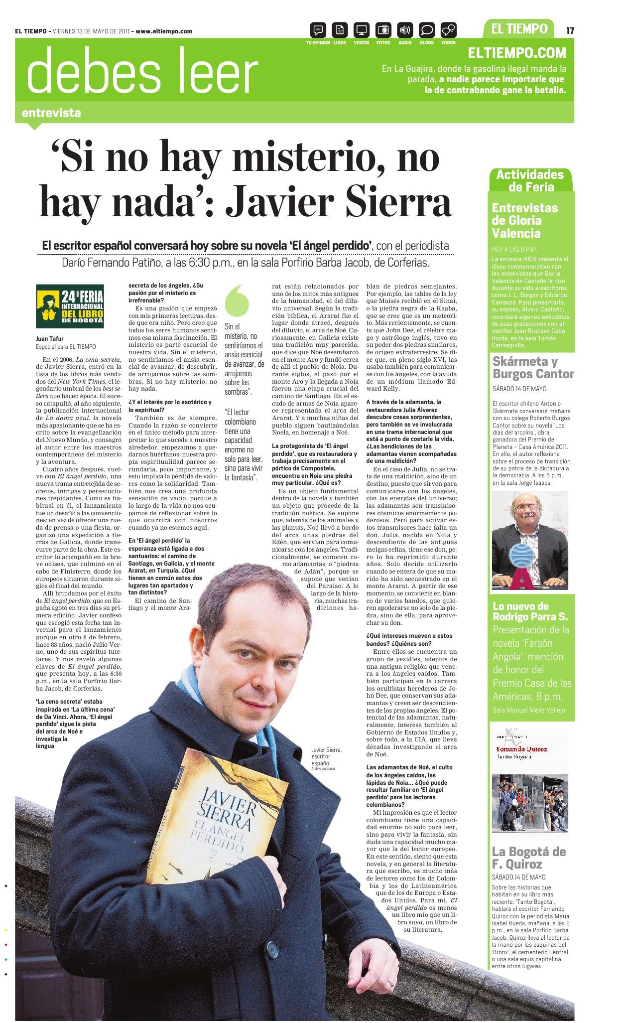 20110513 EL TIEMPO Si no hay misterio no hay nada [Colombia]