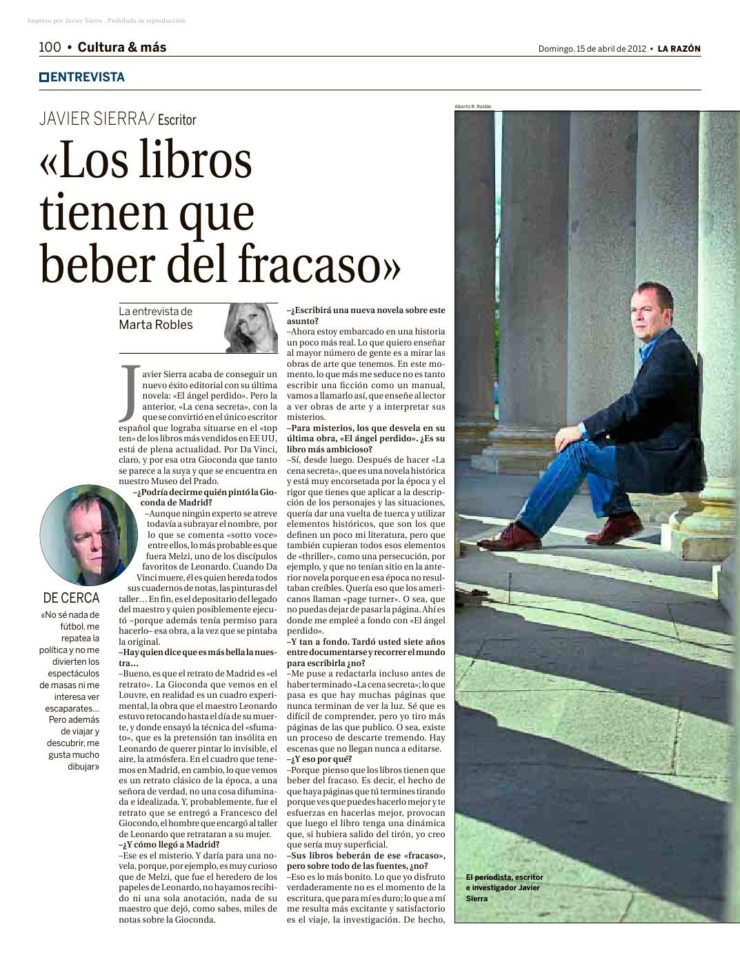 20120415 LA RAZÓN Javier Sierra