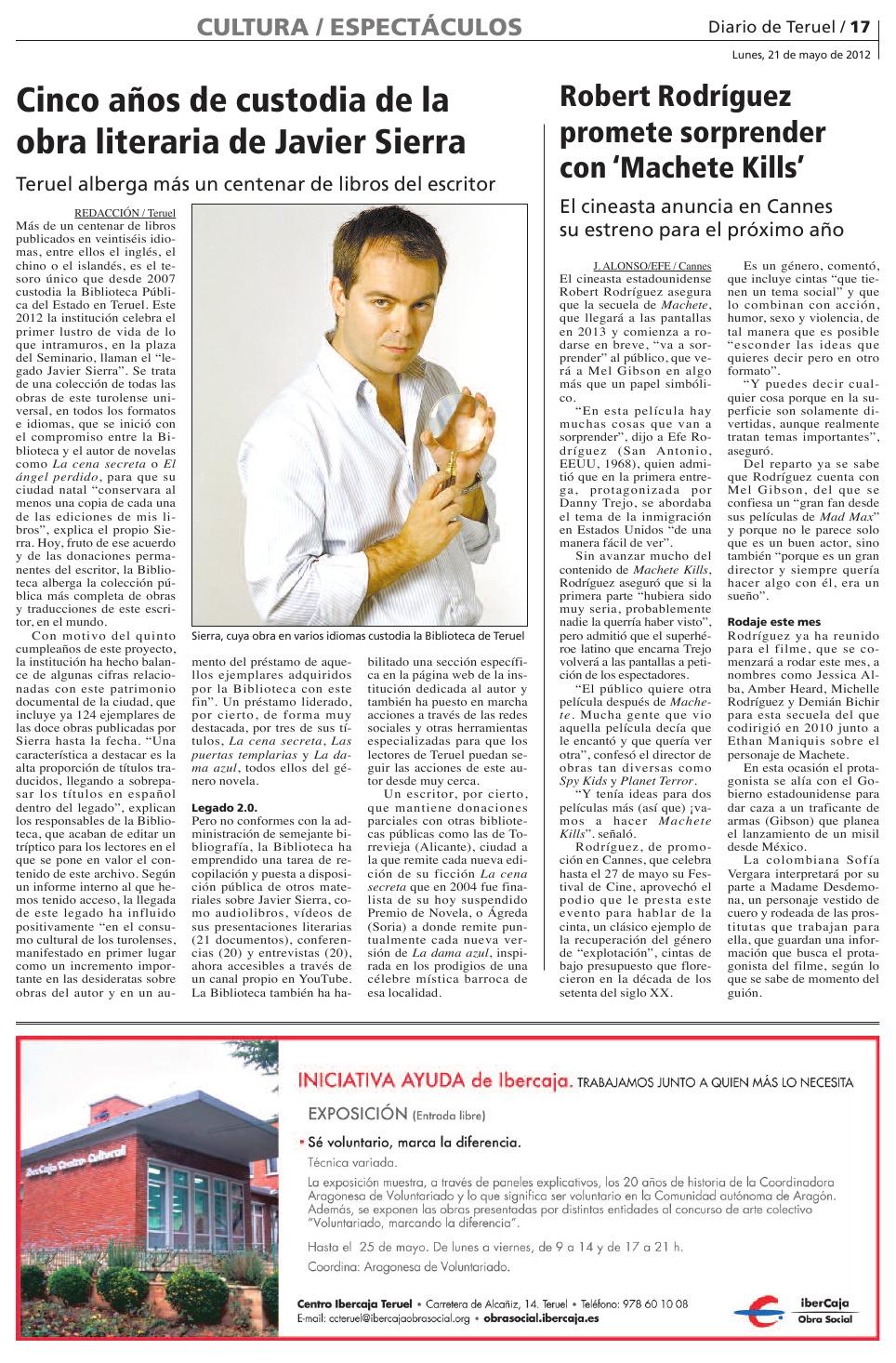 20120521 DIARIO DE TERUEL Cinco años de custodia de la obra literari