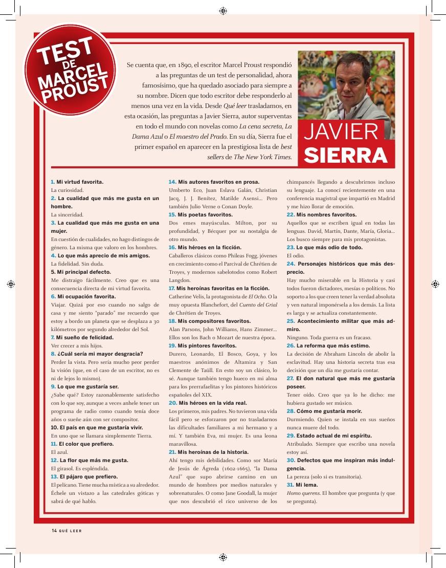 20160701 QUE LEER 222, Test Proust a Javier Sierra