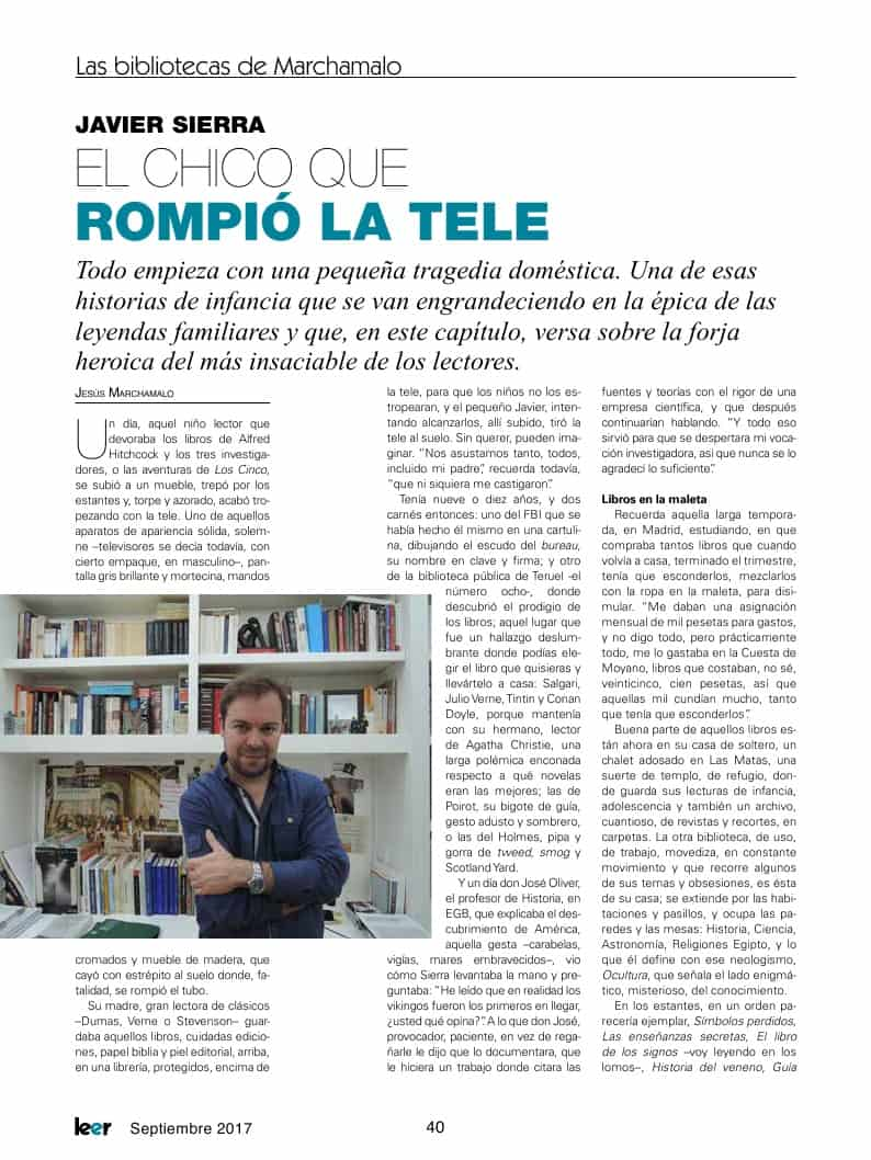 20170901 LEER 285 Biblioteca de Javier Sierra