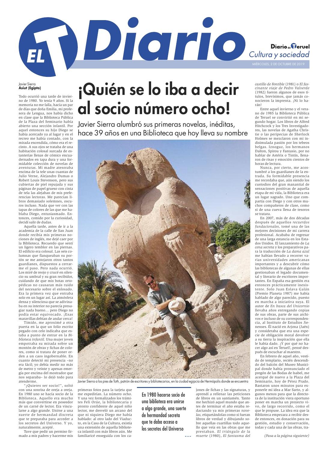 20191030 DOSSIER DE PRENSA Biblioteca Pública de Teruel Javier Sierra