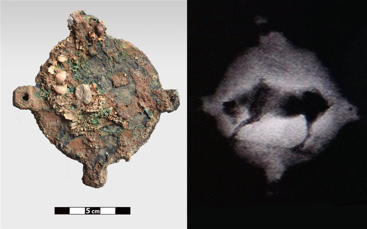 Disco de bronce - Una radiografía ha revelado la imagen de un toro en el disco de bronce hallado en septiembre de 2017